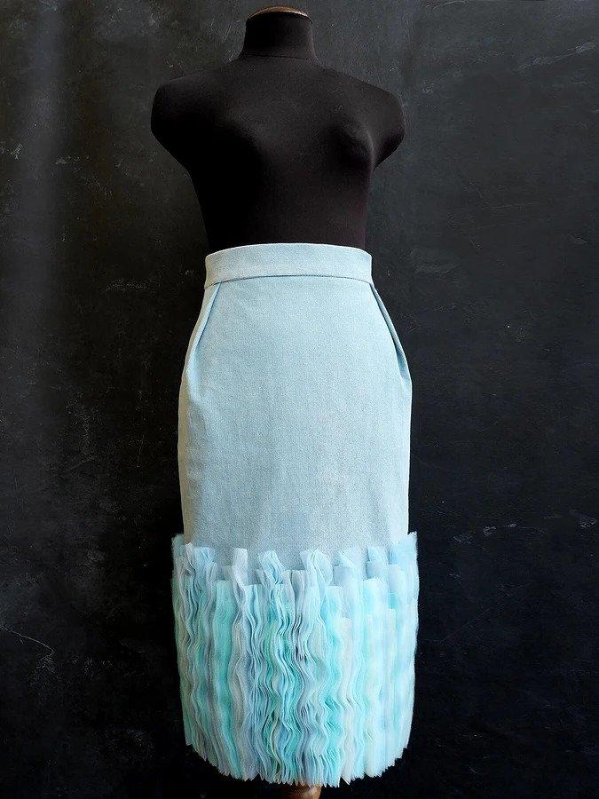 Морская акварель: «волнующий» декор тесьмами из мягкой сетки декор,шитье