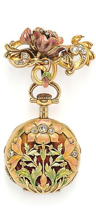 Art Nouveau 18kt Gold, Enamel, and Diamond Open Face Pendant Watch, the case with enamel flowers and rose-cut diamonds, the cuvette with guilloche enamel, hammered gold accents, the white enamel dial with Arabic numeral indicators and subsidiary seconds dial, stem-wind and stem-set, 27 mm, and suspended from a conforming watch pin, total lg. 2 1/2 in.: