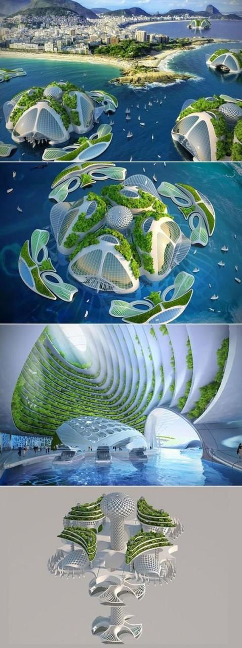 Подводная деревня небоскребов, которая вмещает до 20 000 человек архитектура, интересное, концептуальные фантазии, фабрик аидей