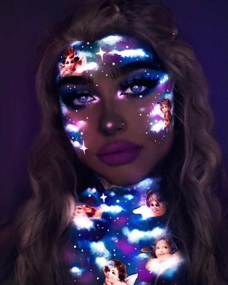 Визажист из Норвегии использует неоновые цвета для создания ослепительных образов, светящихся в темноте визаж