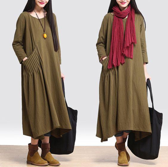 Women loose fitting cotton linen long 3/4 sleeve maxi dress - Tkdress - 1: