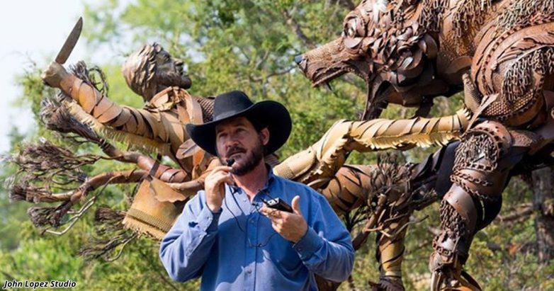 Невероятные скульптуры из старой сельхозтехники