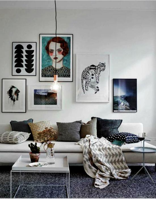 Картины на стенах. | Фото: Pinterest.