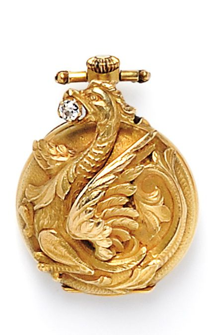 Art Nouveau 18kt Gold and Diamond Open-face Pendant Watch, France, designed as a griffin clutching an old mine-cut diamond, enclosing a stem-wind, pin-set movement, 23 mm, maker's mark and guarantee stamps.: