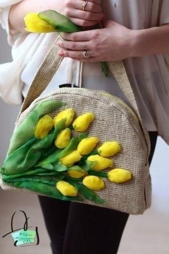 Вышивка лентами по мешковине. Крутые сумки! вышивка,разное,сумки