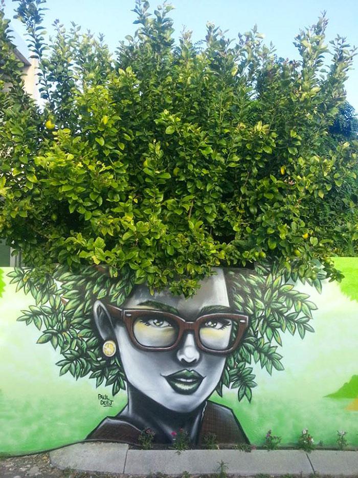 Стрит-арт, взаимодействующий с природой идеи и вдохновение,искусство,мастерство,творчество