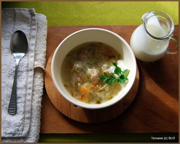Суп с фрикадельками и квашеной капустой (диетический). Фото-рецепт.