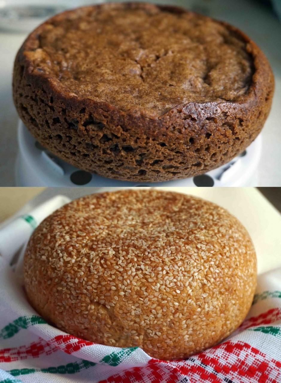 Чёрный хлеб и булочка с кунжутом в мультиварке