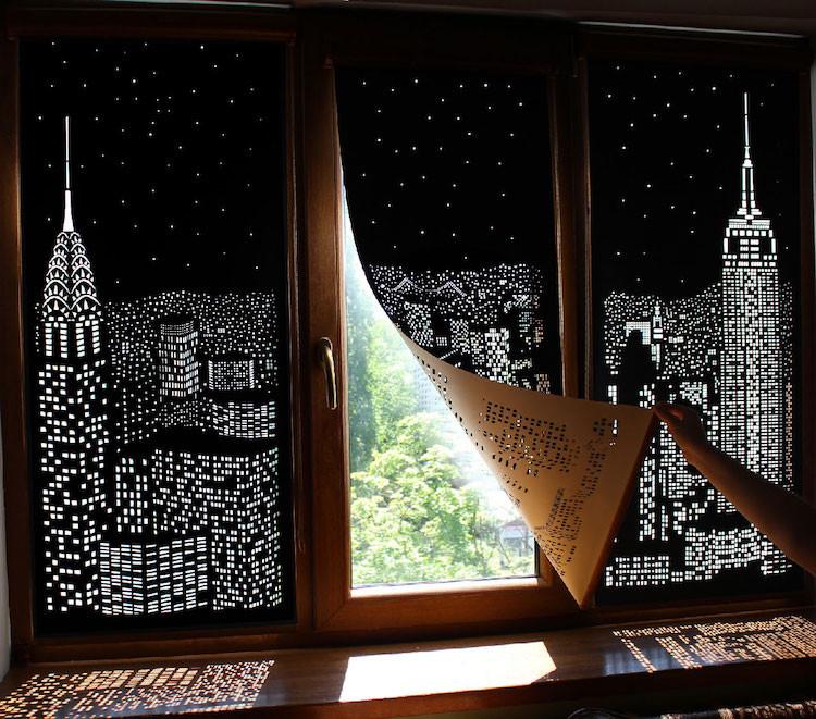 Уникальные шторы, позволяющие насаждаться видом сверкающего ночного мегаполиса даже днём