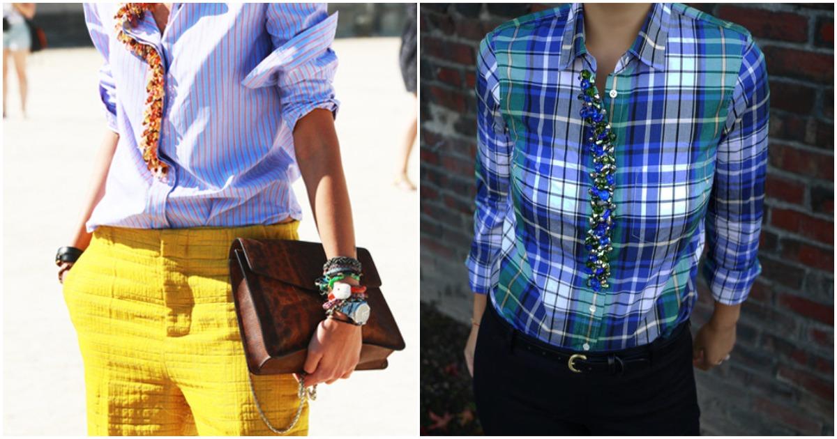 Гламурный декор рубашки бусинами: справится и начинающая мастерица