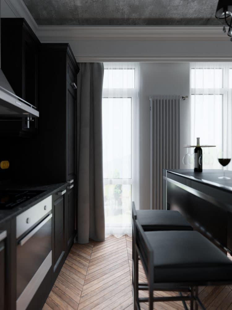 Кухня/столовая в цветах: Белый, Светло-серый, Серый, Черный, Синий. Кухня/столовая в стиле: Лофт.