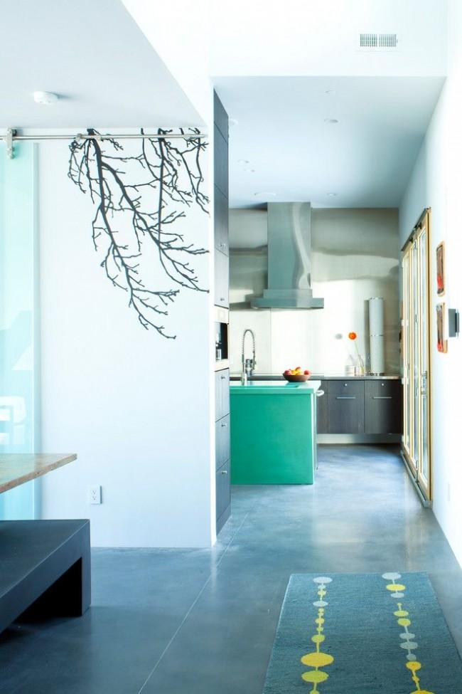 Интерьер стильного, современного дома, оформленного в голубых тонах