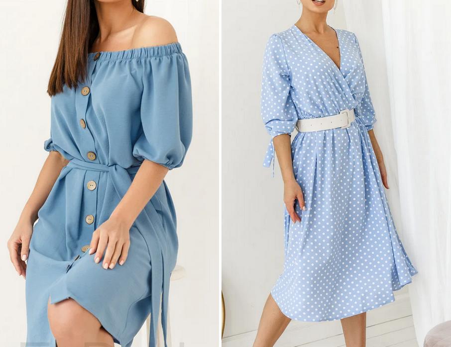 Небесно-голубая одежда на лето 2020