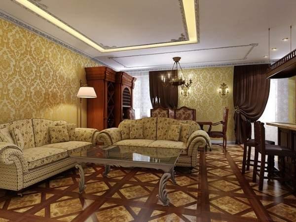 Дизайн интерьера гостиной в частном доме в классическом стиле - фото подборка