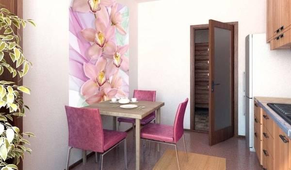 Фотообои для кухни - розовые цветы