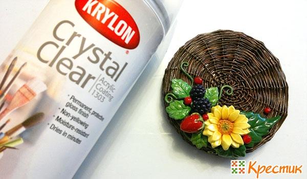 Плетёная крышечка для банок с цветами и ягодами из полимерной глины глина,крышка,лепка