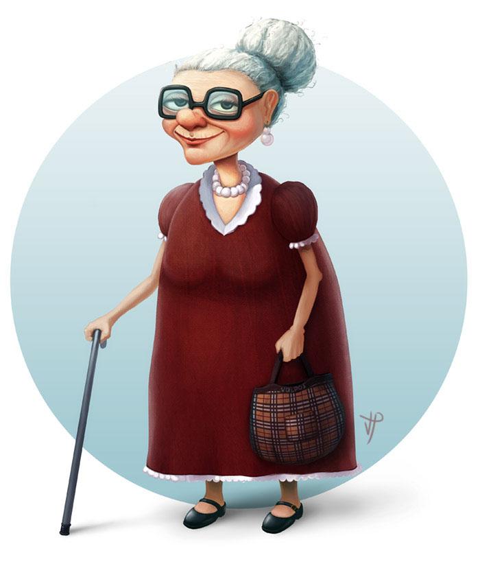 Прикольные мультяшные картинки бабушек