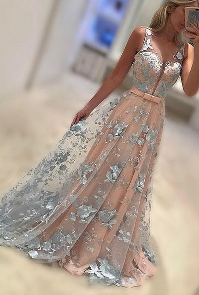 New Arrivel A-Line V-Neck Sweep Train Lace Long Prom Dress,2017 Evening Dress,379: