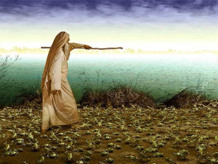 Аарон простёр свой посох и лягушки заполонили землю египетскую.