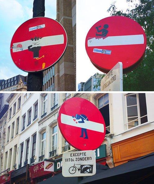 В Брюсселе трудно найти одинаковые дорожные знаки, здесь каждый «кирпич» — это маленький шедевр искусства страны, факты, это интересно