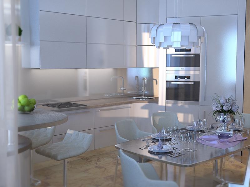 Керамогранит на полу на кухне - Дизайн интерьера квартиры г. Нижневартовск, ХМАО-Югра
