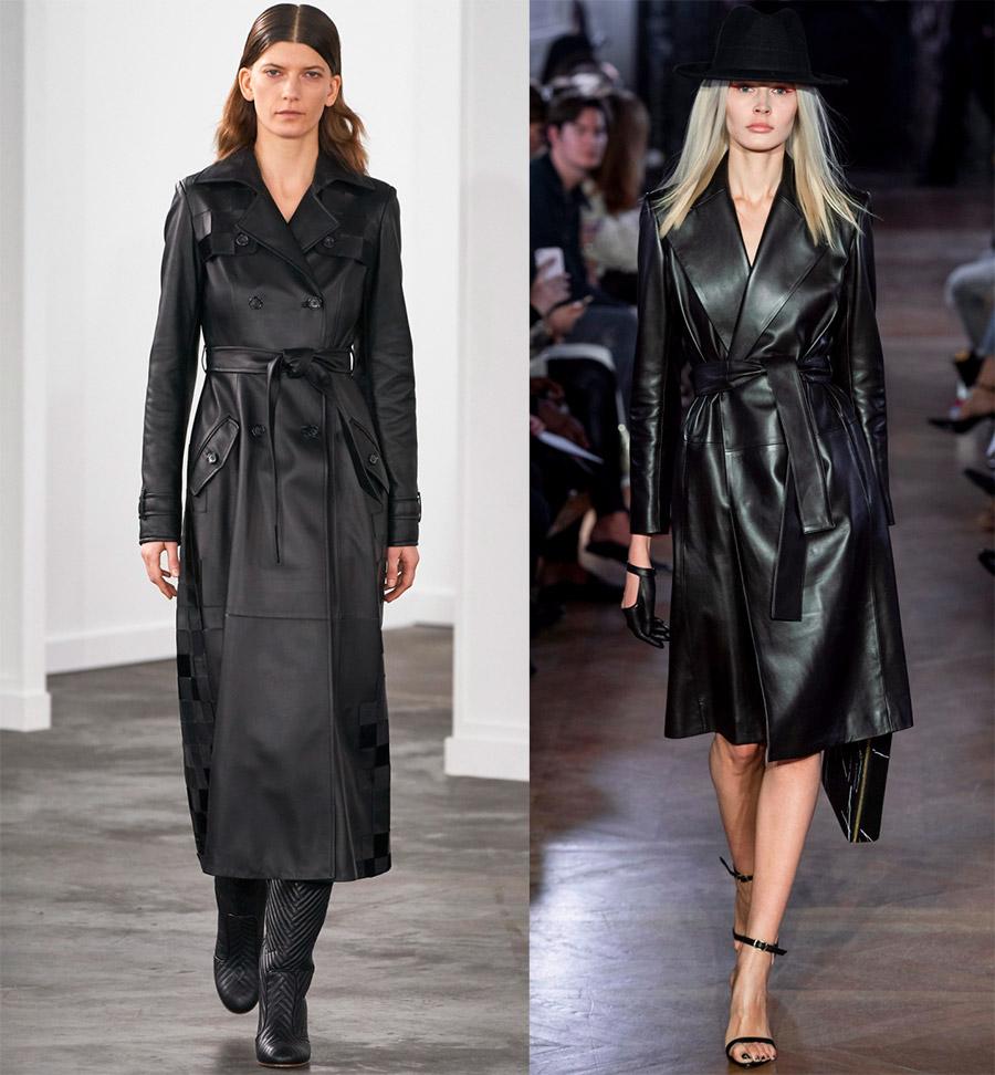Кожаные женские пальто