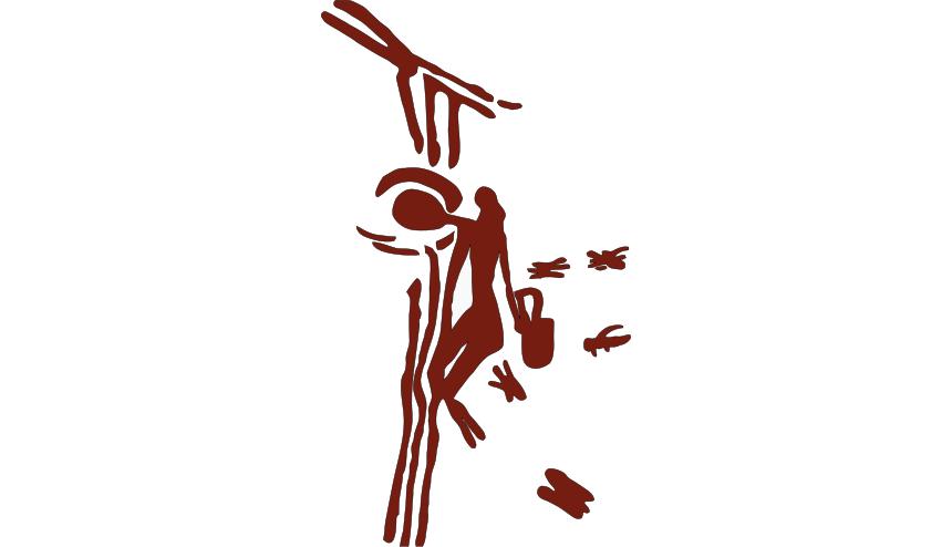 «Бикорпский человек», влезающий по лианам, чтобы собрать мёд из пчелиного улья. Рисунок 8000-летней давности в одной из «Паучьих пещер в Бикорпе».