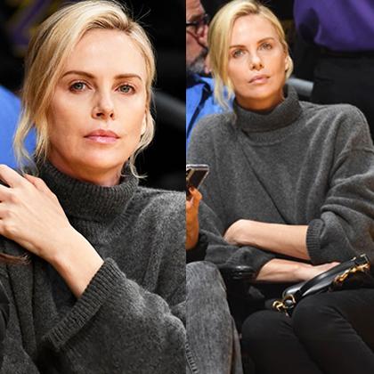 Шарлиз Терон в уютном casual-образе посетила баскетбольный матч в Лос-Анджелесе