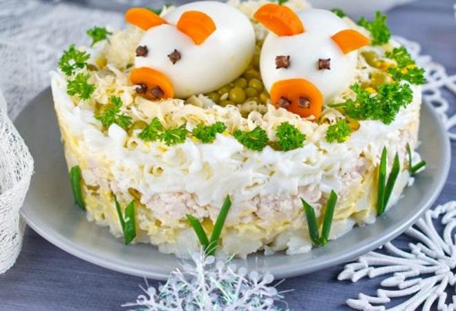 украшение салатов на новый год