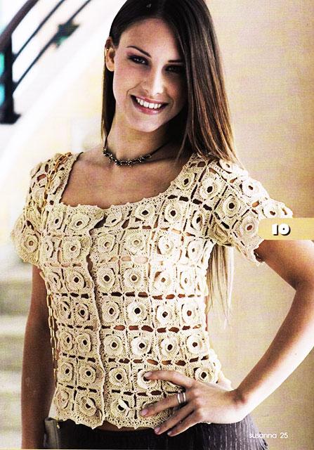 Блуза и сумка из кружевных розеток «Аленький цветочек» крючком вязание,мода,одежда