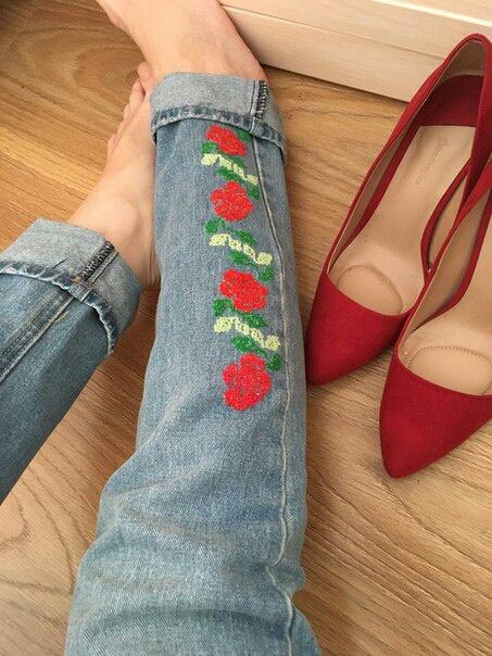 Вышивка на джинсах (diy)