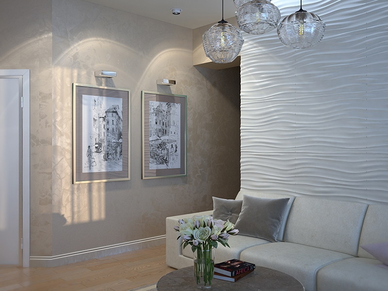 3D панели в гостиной - Дизайн интерьера квартиры г. Нижневартовск, ХМАО-Югра