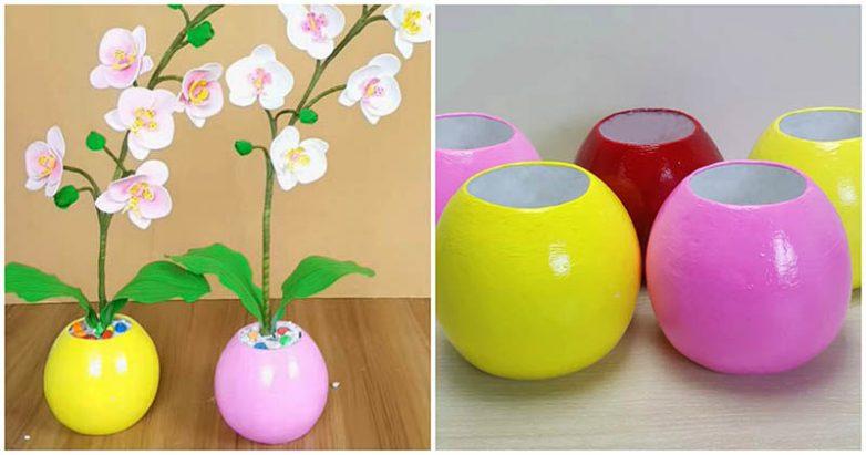 Оригинальные вазы из обыкновенной газеты и штукатурки