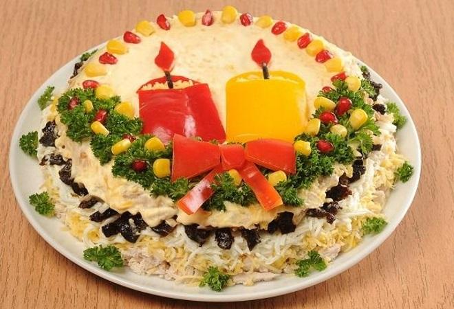 украшение салатов перцем на новый год