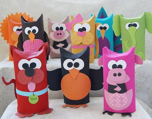Животные из картонных цилиндров от туалетной бумаги