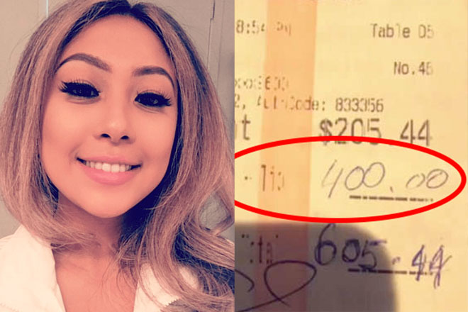 Официантка получила от пары 400 долларов чаевых, а на следующий день люди вернулись и предложили еще 10000 долларов