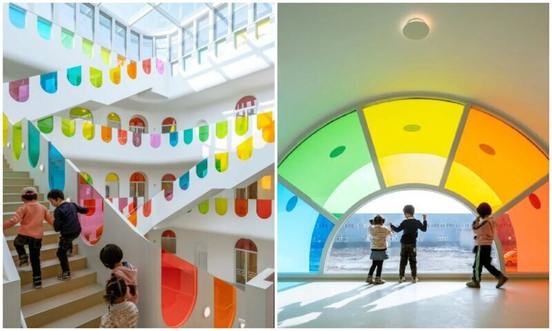 Радужный детский сад-калейдоскоп в Китае