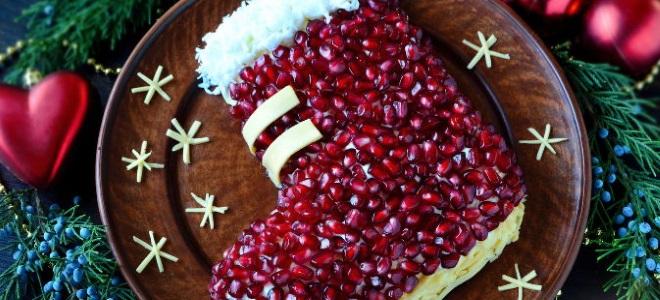 салат новогодний сапожок с гранатом
