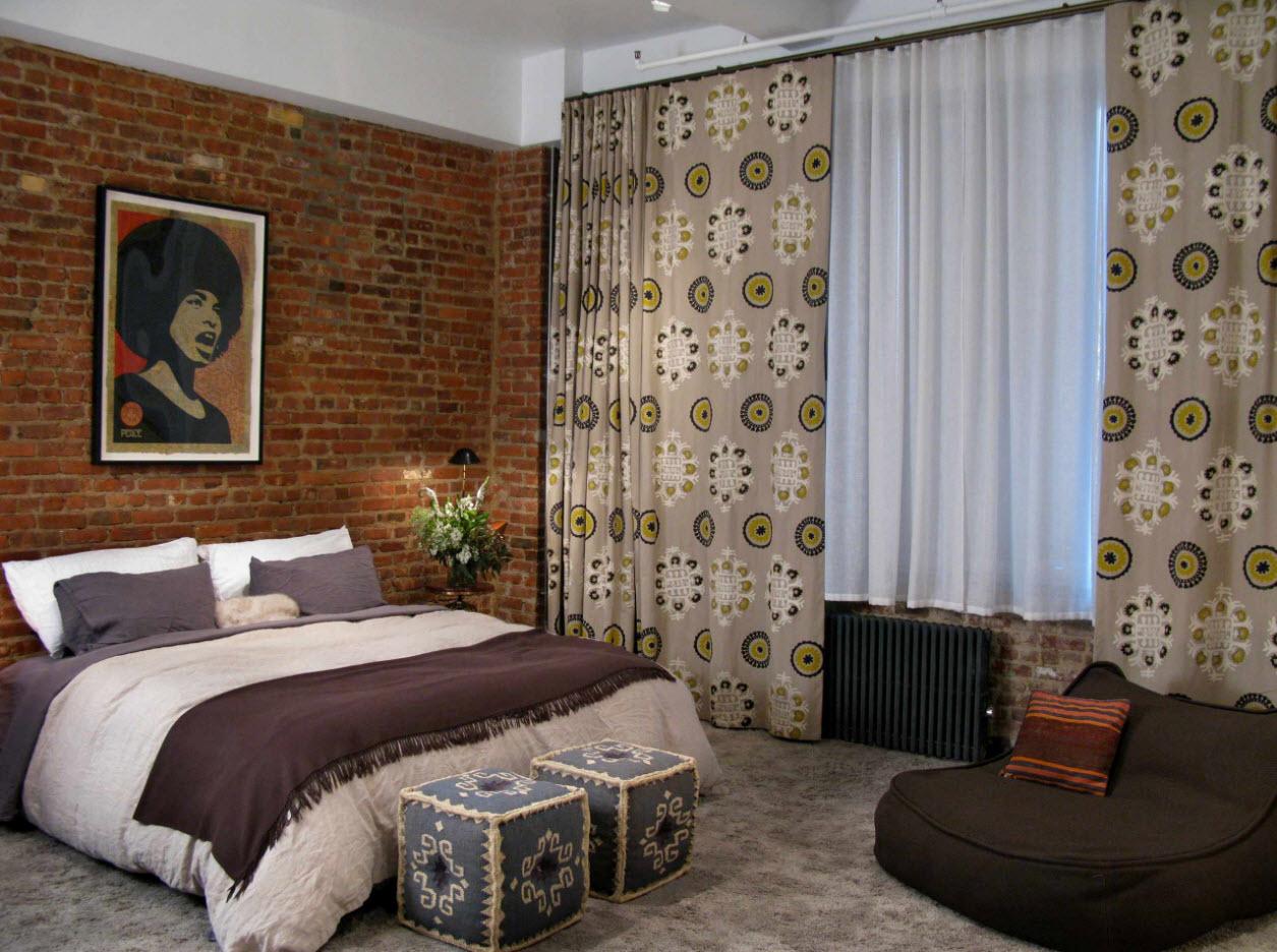 Необычная ткань для спальни-лофт