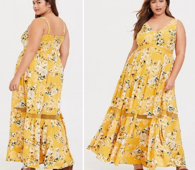 полная женщина средних лет в желтом длинном летнем сарафане