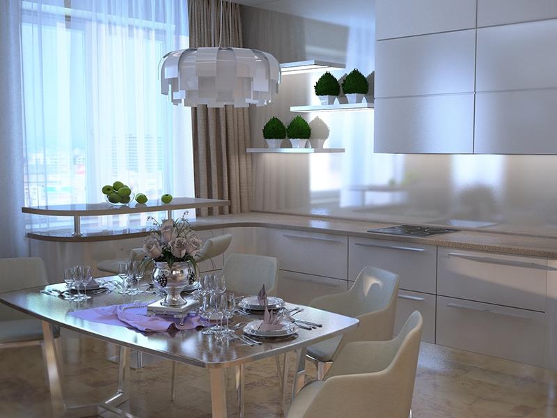 Белый кухонный гарнитур - Дизайн интерьера квартиры г. Нижневартовск, ХМАО-Югра