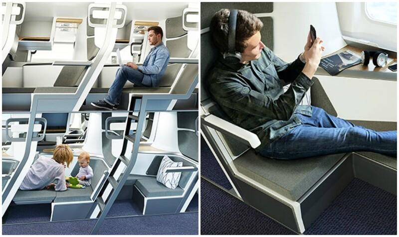 Летающая плацкарта? Дизайнеры придумали двухэтажные кресла для самолётов
