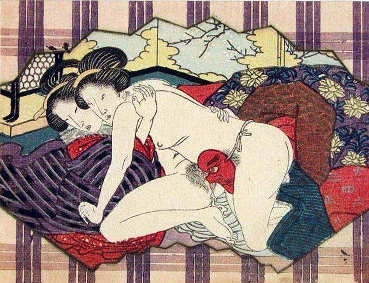 Неподписанное полотно: лесбиянки используют маску «тенгу» вкачестве дилдо, период Эдо