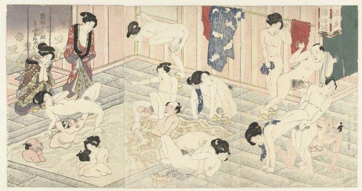 Бани вХаконе, Утагава Кунисада, 1827