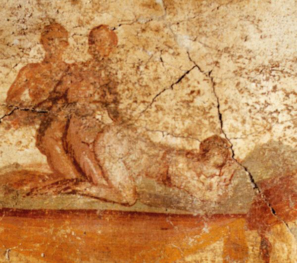 Двое мужчин иодна женщина занимаются любовью, фреска, Помпеи, 79 г дон.э.