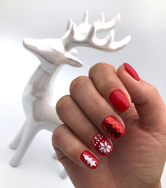 Новогодний маникюр 2020 на короткие ногти: идеи с фото
