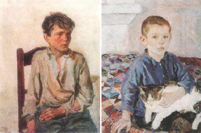 «Петя Тоньшин». (1947 год). / «Портрет Коли с кошкой». (1936 год). Автор: А.А.Пластов.