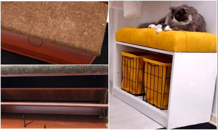 Как переделать старую обувницу в роскошный пуф для прихожей для дома и дачи,мебель