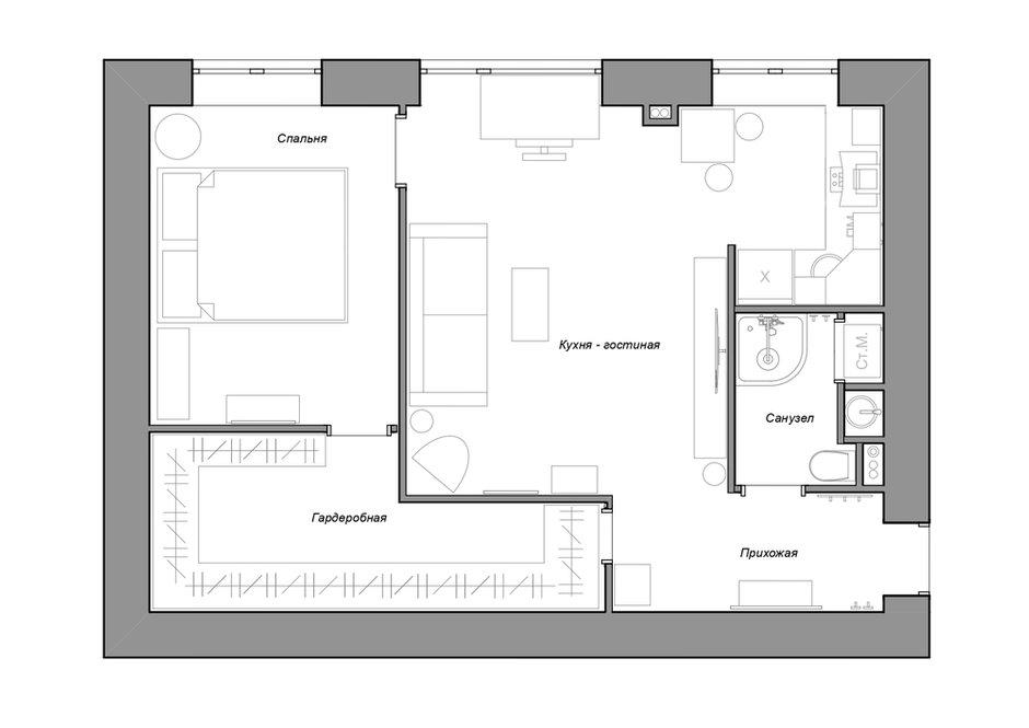 Как типовую двушку 43 м² в хрущевке превратили в лофт идеи для дома,интерьер и дизайн