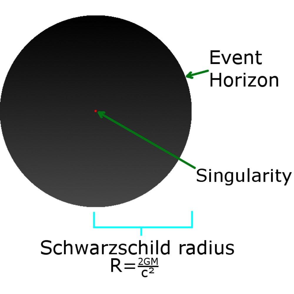 Строение черной дыры: сингулярность, горизонт событий и шварцшильдовский радиус (область от сингулярности до горизонта событий) / ©SubstituteR, CC BY-SA